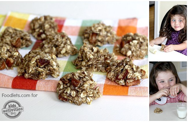 banana cookies with kids, foodlets