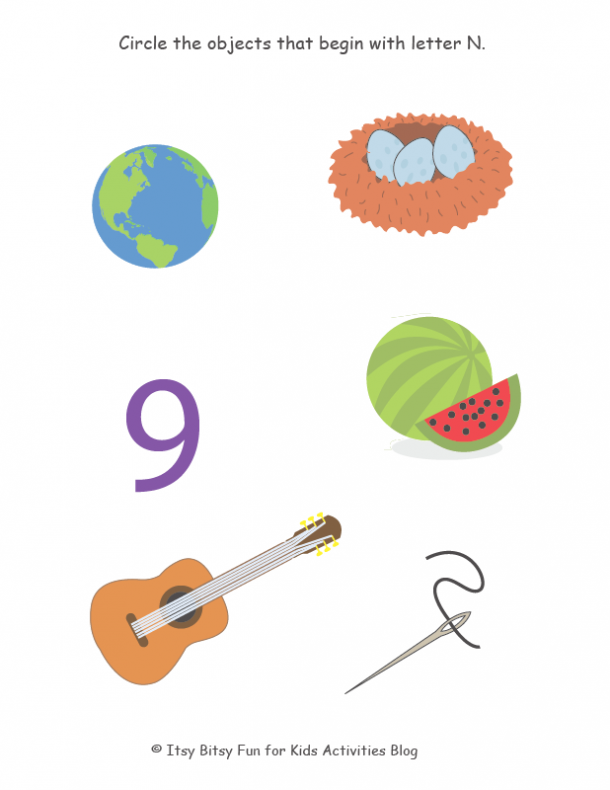 Circle the objects that start with the letter N.  start