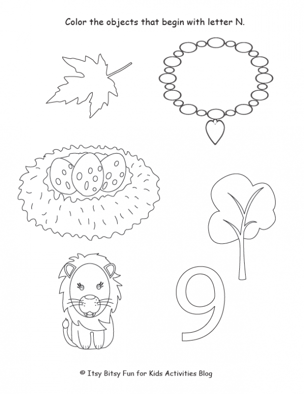 color the objects that begin with the letter n begin