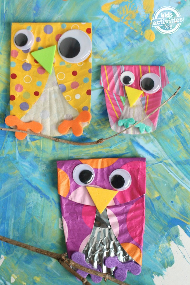 Owl family made from cupcake liners