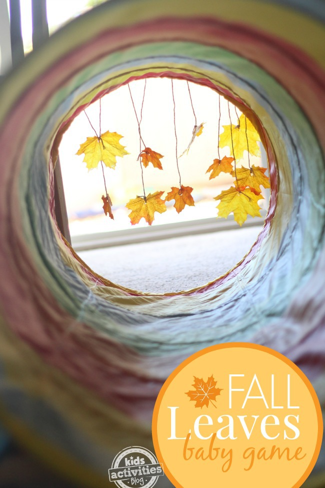 Simple baby play idea for fall time. This is especially great for babies who love to move!