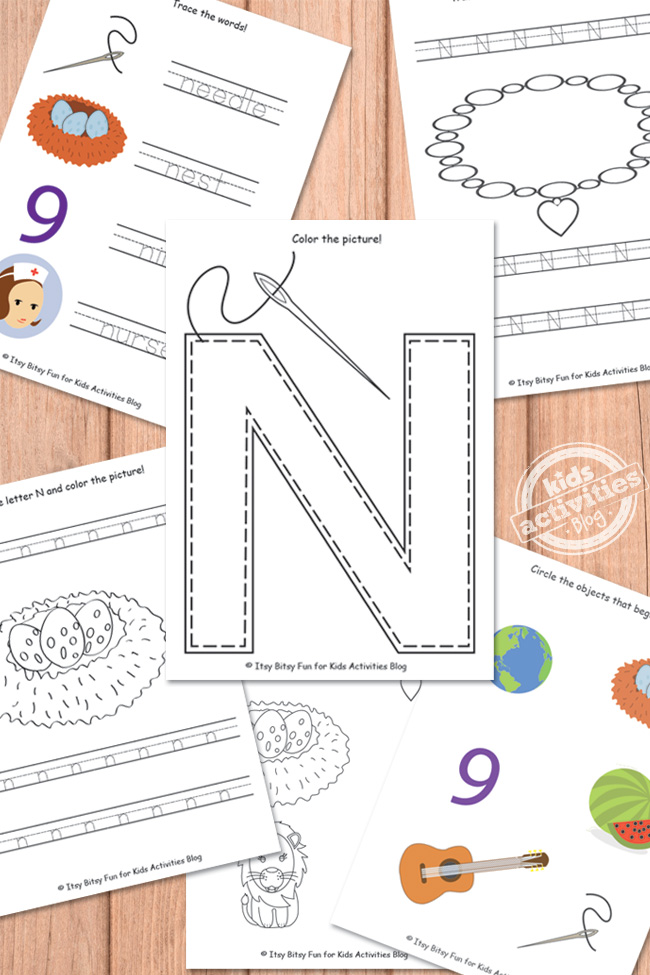 letter n worksheets free kids printable. Black Bedroom Furniture Sets. Home Design Ideas