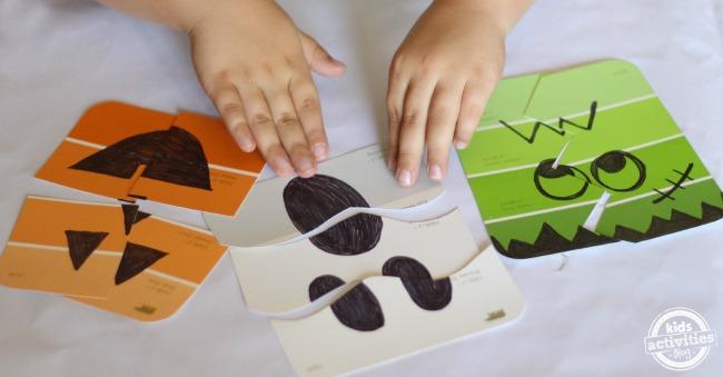Jeux d'Halloween simples.  Faites vos propres puzzles d'éclats de peinture !  Ceux-ci seraient parfaits dans des sacs cadeaux.