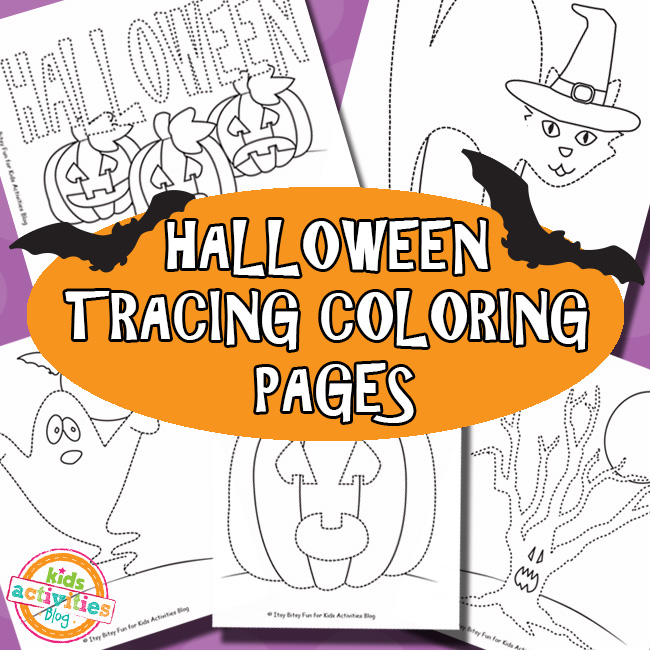 Halloween Tracing Coloring Pages