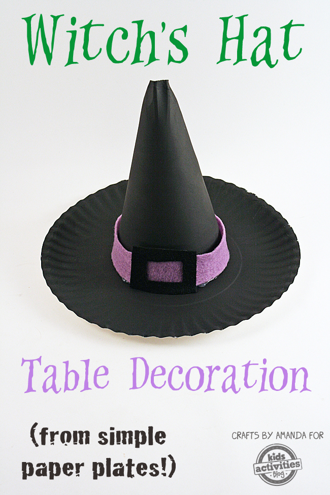 Paper plate witch 39 s hat for Paper witch hat template