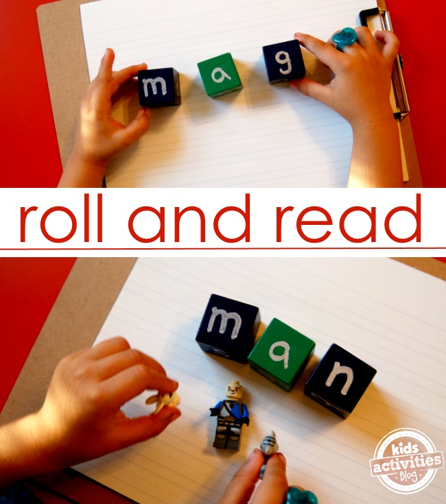roll the blocks and sound out the letters - great for phonics and learning to read