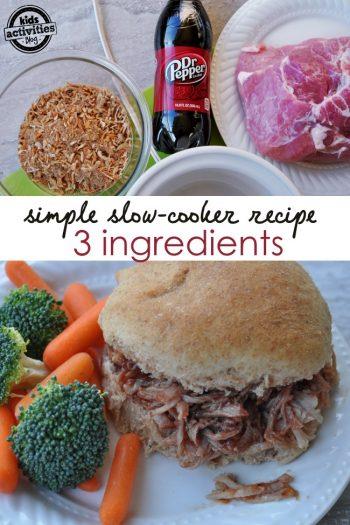 slow cooker pork dinner recipe using only 3 ingredients