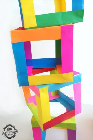 Build a tower with your kids out of paper boxes Super colorful and cool