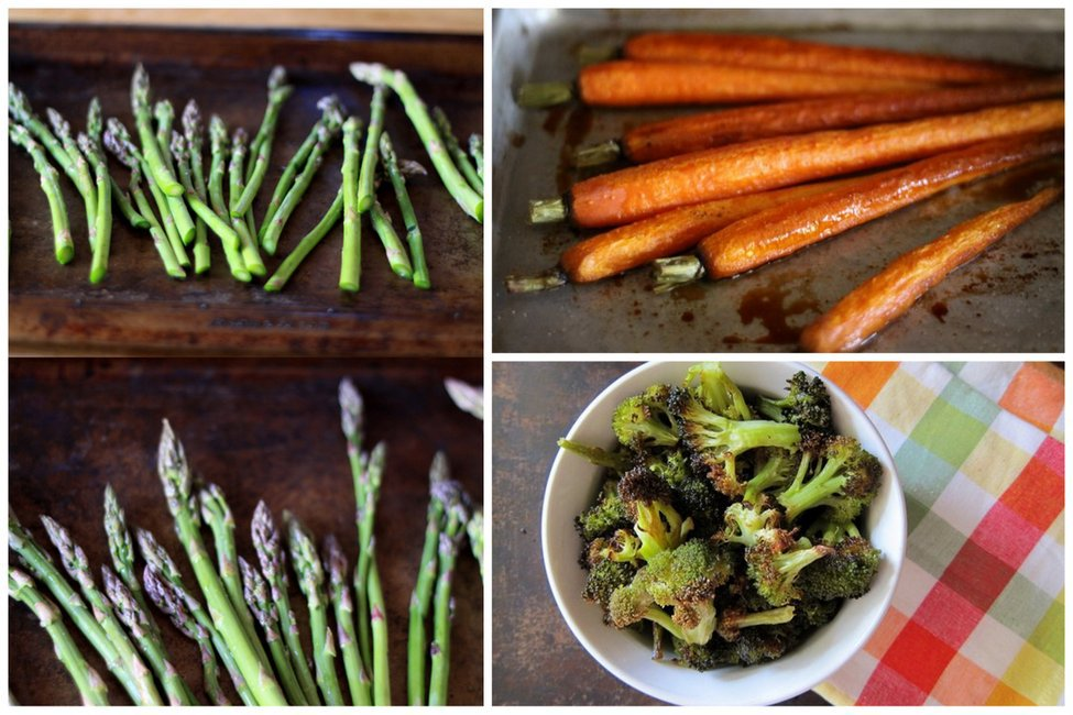 asparagus, carrots, broccoli