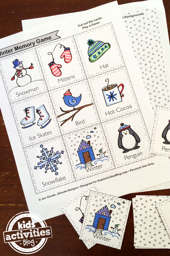 Winter Memory Game designed by Jen Goode - printable pages shown - background page and card page