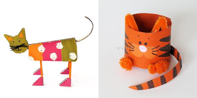 Cardboard Art Cat and Cardboard Tube Cat crafts