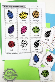 Color Bugs Memory Game Free Kids Printable