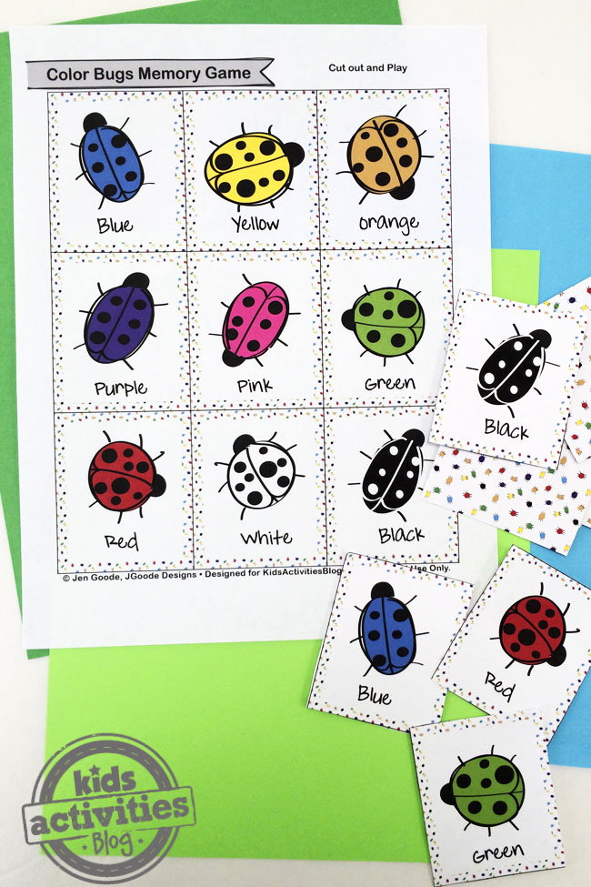 graphic about Printable Memory Game known as Coloration Insects Memory Match Cost-free Children Printable
