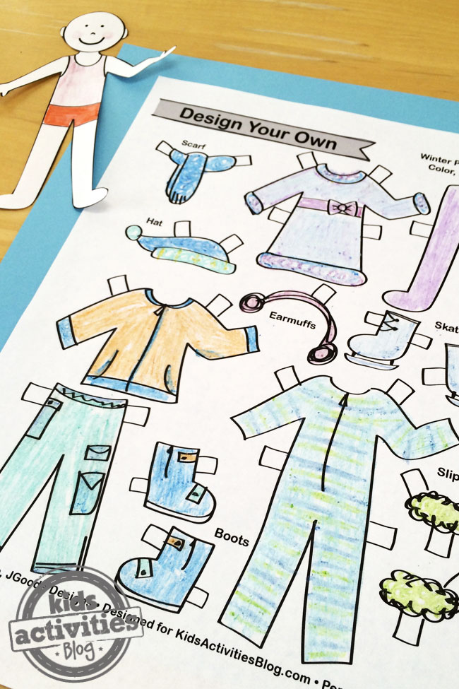 Design Your Own Winter Paper Dolls Printable designed by Jen Goode