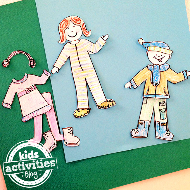 Printable winter outfits for paper dolls designed by Jen Goode