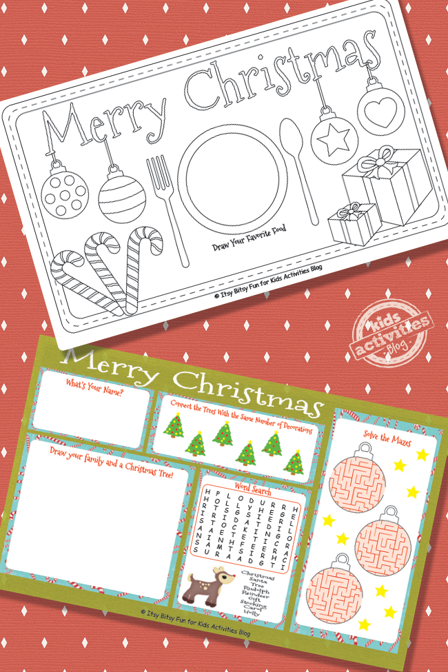 Decorate These Printable Christmas Placemats