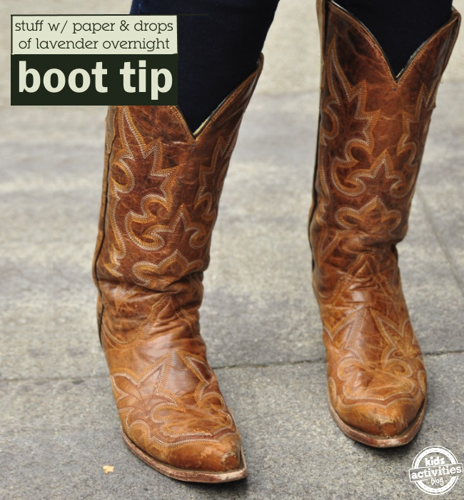 have fresher boots all you need is butcher paper and lavender essential oil