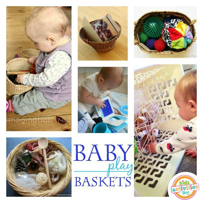 One year old activities in baskets. I love that you can do so many of these with items from around the house!
