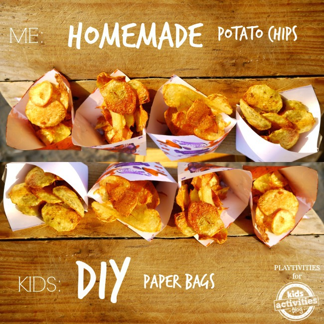 potato chips in paper bags