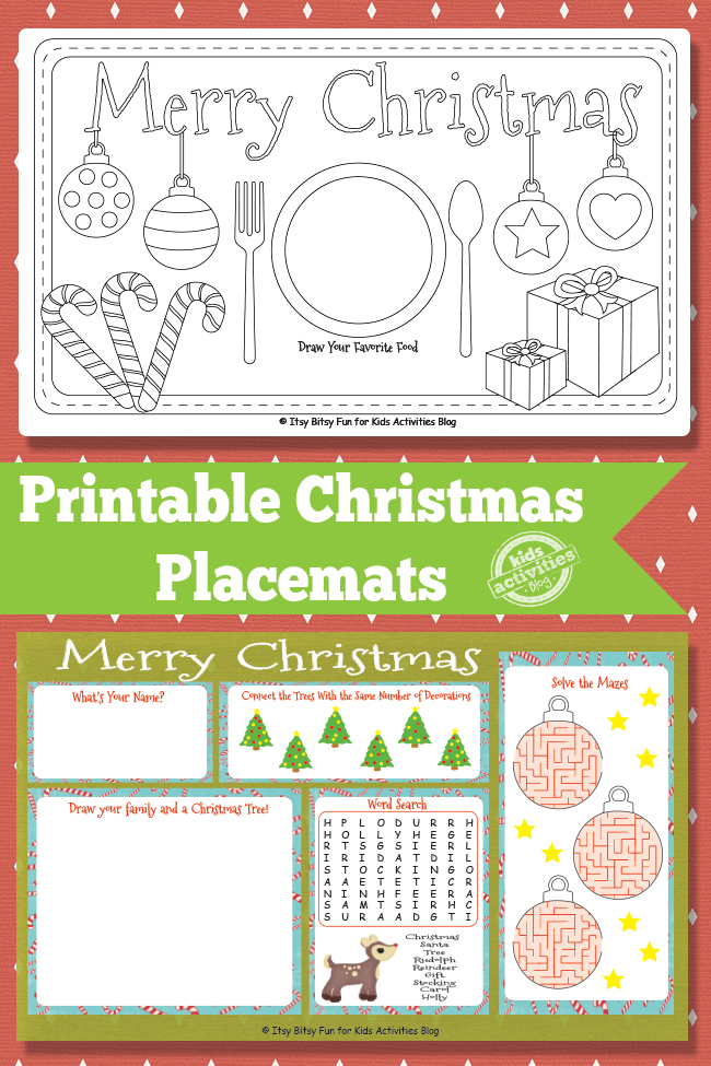 graphic about Printable Christmas Activities identify Printable Xmas Placemats Totally free Youngsters Printable