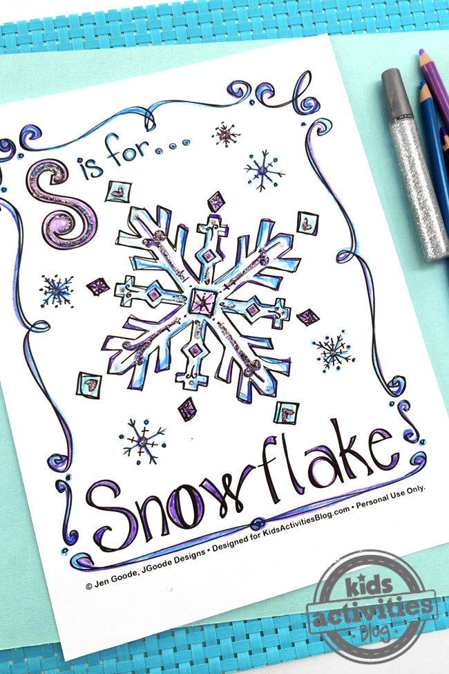 Snowflake Coloring Page design by Jen Goode