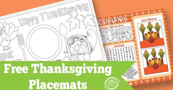 Thanksgiving Placemat Free Kids