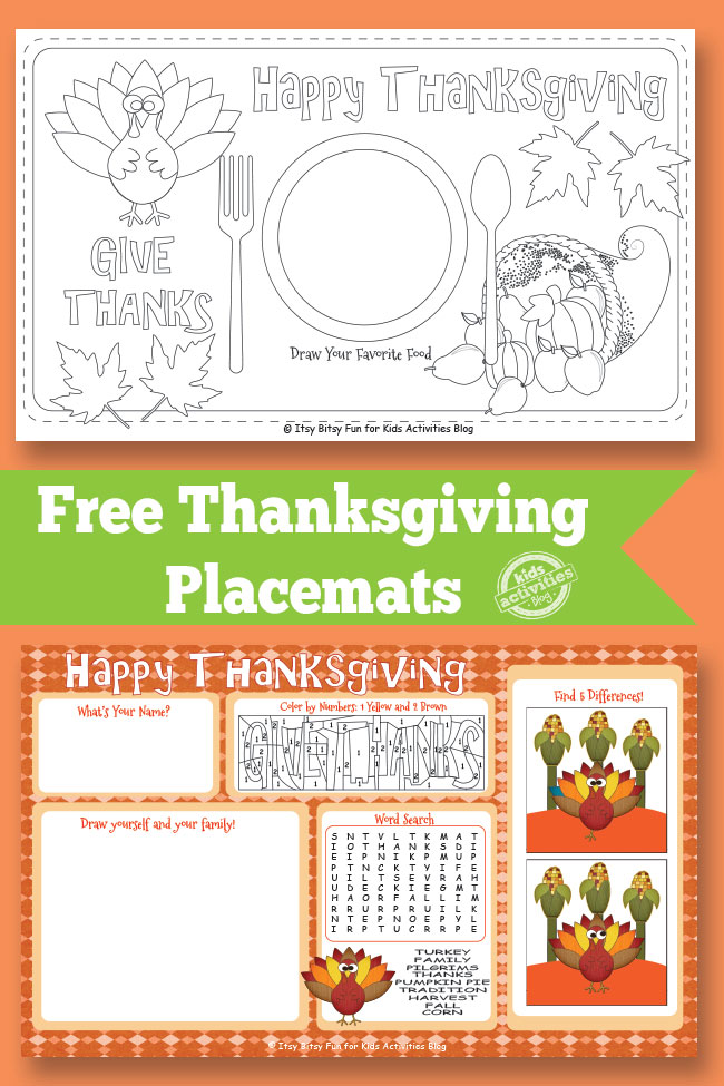 free printable Thanksgiving Placemats to color and some with puzzles