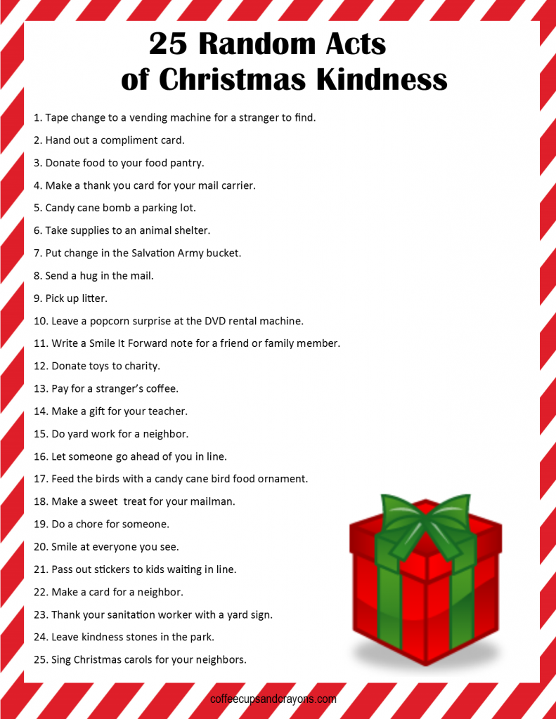 image about Random Acts of Kindness Cards Printable titled 25 Random Functions of Xmas Kindness - Dallas Solitary Mom and dad