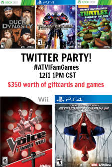 Join us for a Twitter Party with Activision Family Games on 11/25 at 1pmCST!