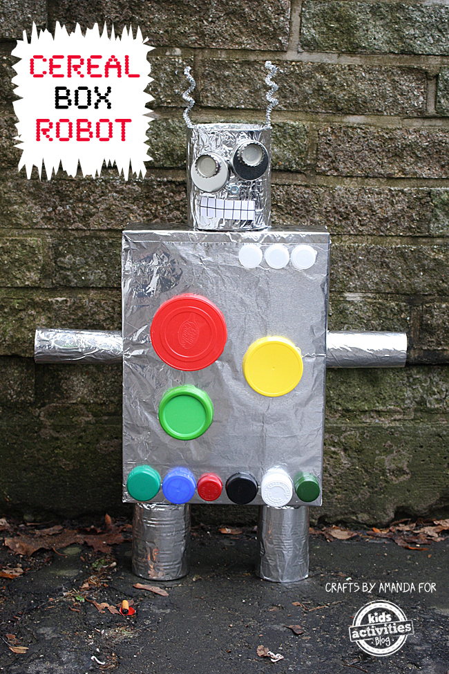 recycled crafts robot from a cereal box