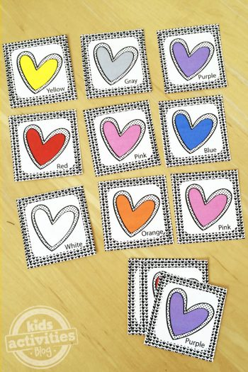 Printable Colored Hearts Playing Cards