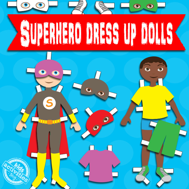 Boy Superhero Dress Up Dolls Free Kids Printable