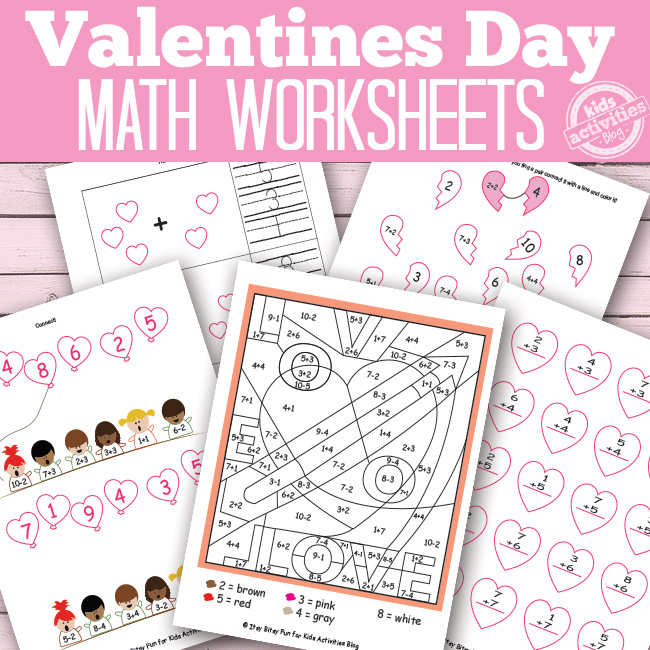 Valentines Day Math Worksheets {Free Kids Printables}