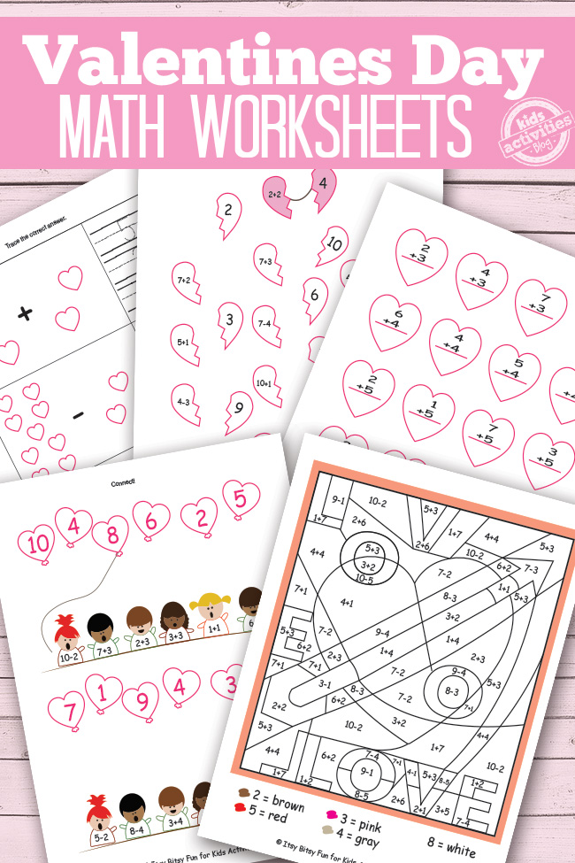 picture regarding Free Printable Valentine Worksheets known as Valentines Working day Math Worksheets Cost-free Small children Printables
