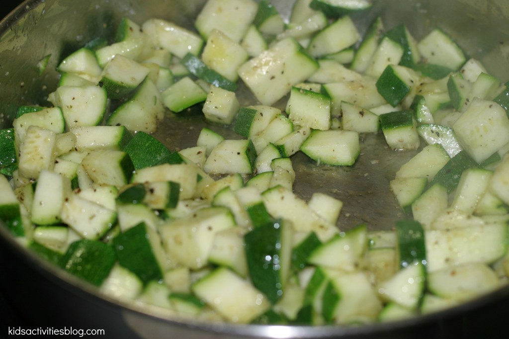 diced zucchini cooed on the stove