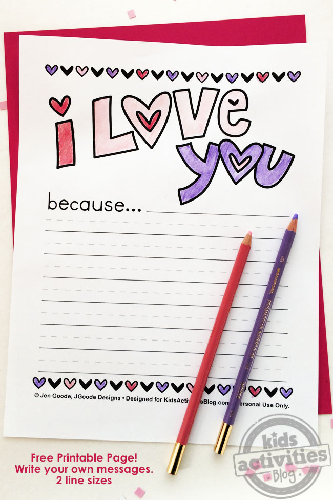 i love you because printable - Printable Kids Activities