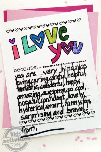 I Love You Because Printable