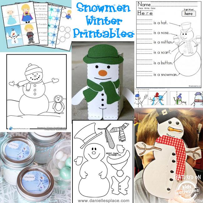 Snowman printable activities