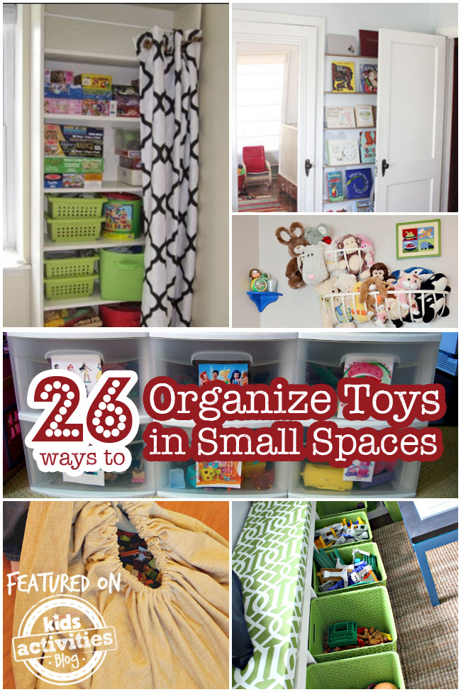 26 ways to organize toys in small spaces for Organizing living room family picture ideas