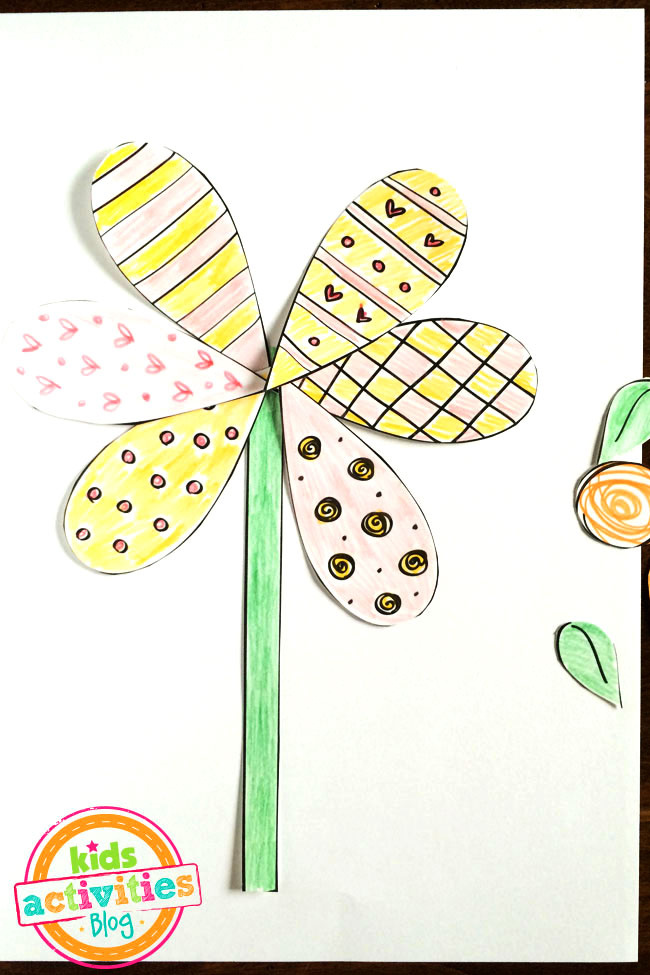 Printable Spring Flower Coloring Craft