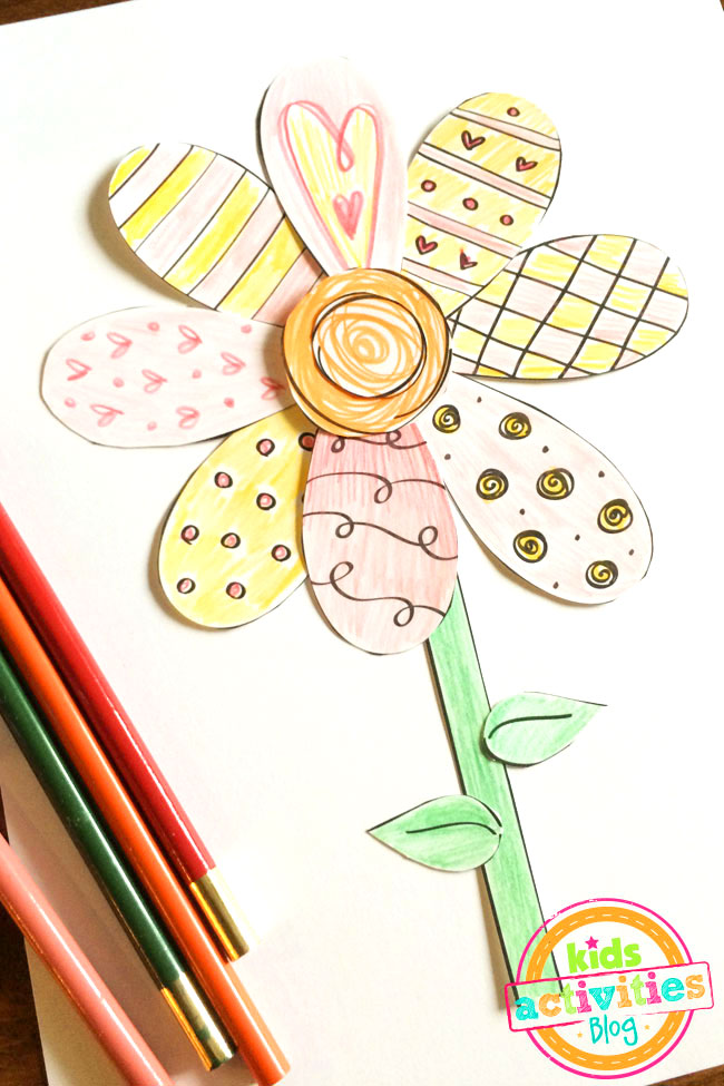 Printable Spring Flower Coloring Craft designed by Jen Goode