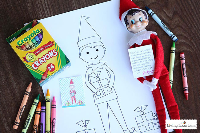 elf on shelf coloring sheet