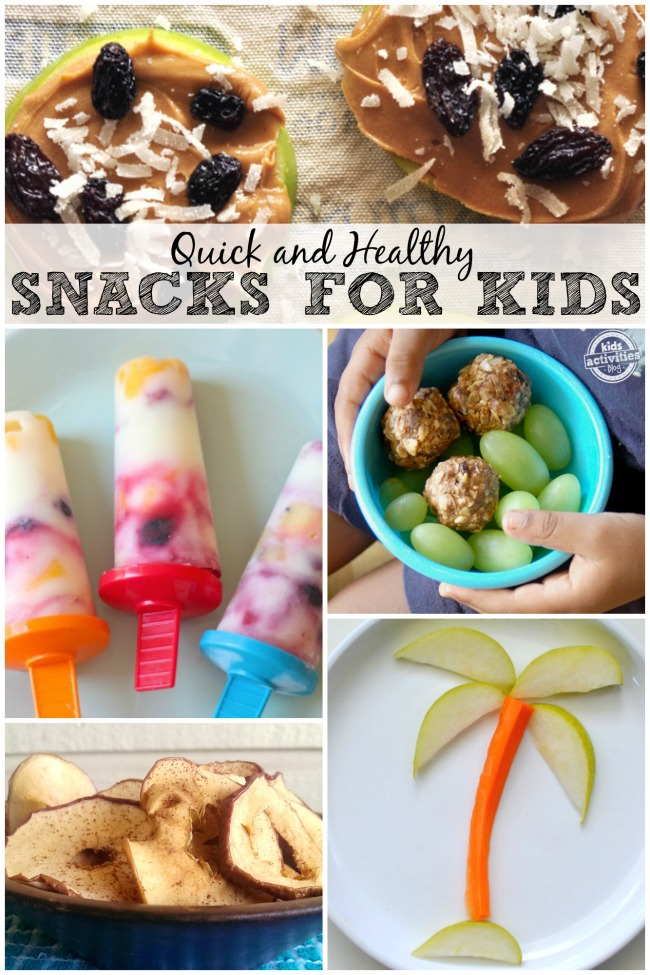 healthy snacks for kids recipes quick like these apple chips, veggie and fruit trees, yogurt and fruit popsicles, breakfast balls, and apple peanut butter and raisin cookies.