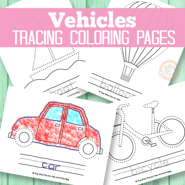 Vehicle Tracing Coloring Pages