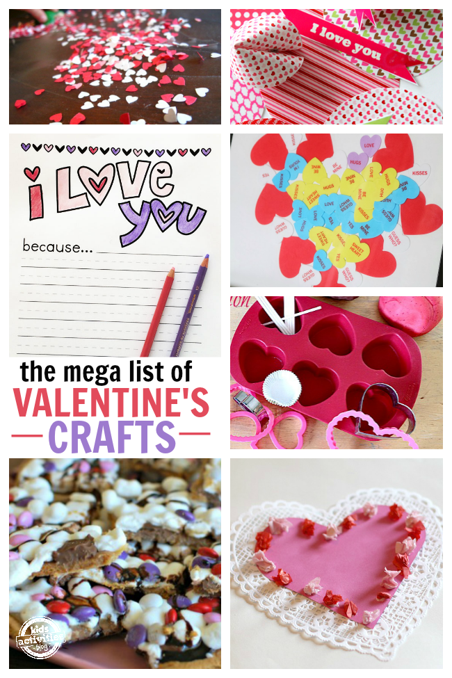 25 Valentine's Day Crafts & Activities for kids - confetti hearts, origami Valentines, I love you printables, conversation hearts, s'mores bark and homemade Valentines