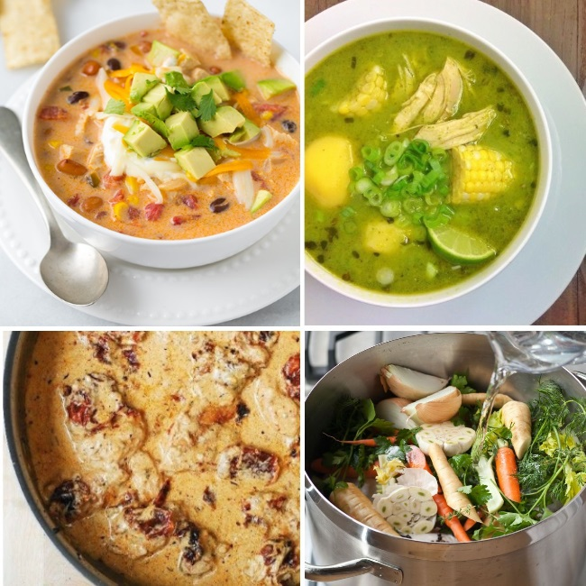 Chicken soup recipes are great in the fall and the winter. We have vegetable chicken soup, tex mex chicken soup, corn, lime, and chicken soup. Yum!