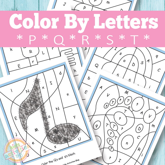 color by letters p q r s t free kids printable. Black Bedroom Furniture Sets. Home Design Ideas