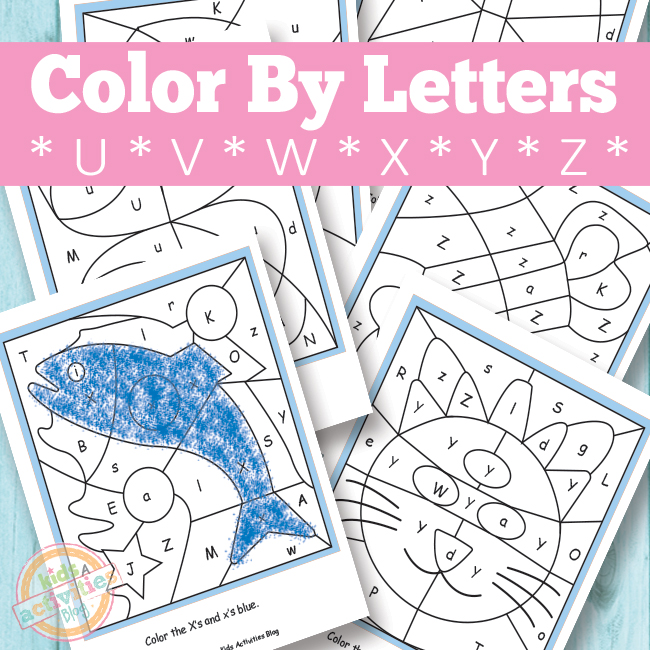 math worksheet : color by letters u v w x y z free kids printable : Free Letter Worksheets For Kindergarten