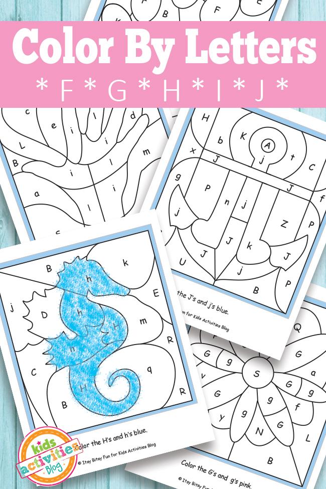 color by letters f g h i j free kids printable - Free Kids Printable