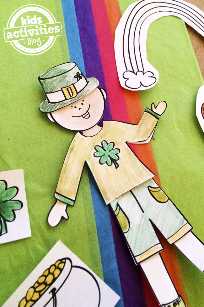 Design your own St. Patrick's Day paper doll printable set